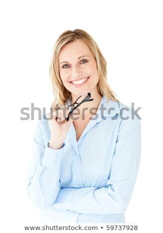 положительный деловая женщина очки изолированный белый Сток-фото © wavebreak_media
