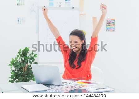 Woman victorious at her laptop Stock photo © photography33