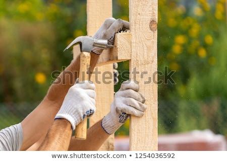 Férfi tart fából készült nyaláb fa építkezés Stock fotó © photography33