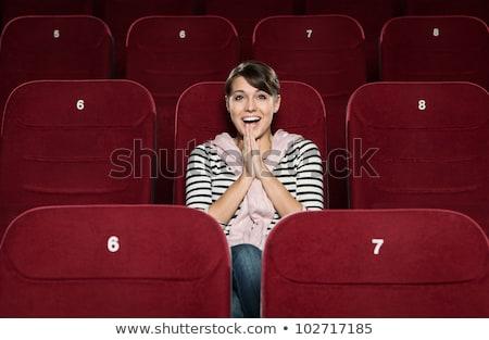小さな · 魅力のある女性 · 座って · 映画 · 映画 - ストックフォト © adam121
