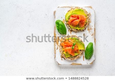 Wędzony łosoś przekąska ser krem zielenina Zdjęcia stock © zhekos