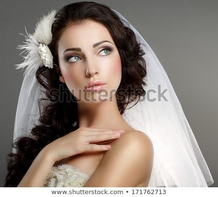 クローズアップ · 肖像 · 美しい · 若い女性 · 着用 · ベール - ストックフォト © anna_om