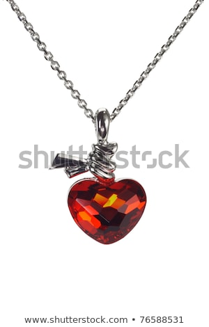 Rood ketting hartvorm geïsoleerd witte mode Stockfoto © natika