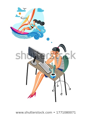 cartoon surfer girl with thought bubble stock photo © lineartestpilot