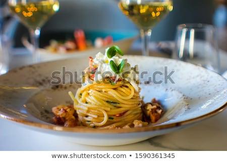 Italiaans pasta gehaktballetjes peterselie tomatensaus witte Stockfoto © trexec