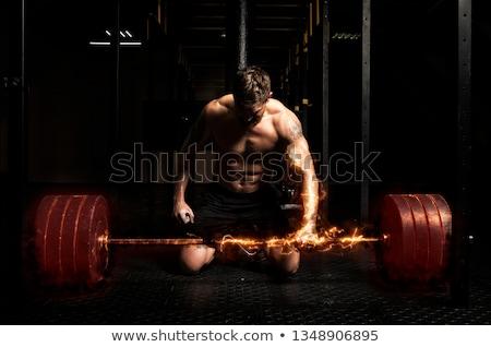 мышечный · человека · тренировки · штанга · портрет · черный - Сток-фото © deandrobot