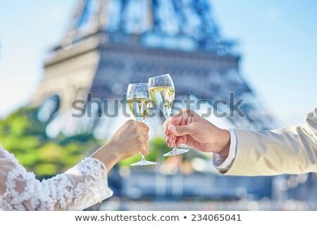 Friss házasok Párizs illusztráció esküvő buli férfi Stock fotó © adrenalina