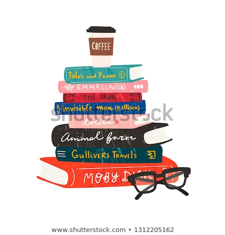 coffee cup and glasses on pile of book Stock photo © Paha_L