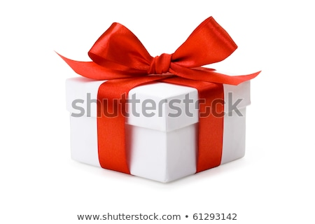 gift pink box with red bow isolated on white stock photo © tetkoren