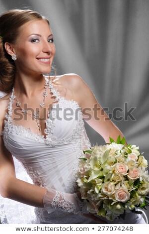 belo · sorridente · mulher · jovem · batom · vermelho · beleza · compensar - foto stock © victoria_andreas