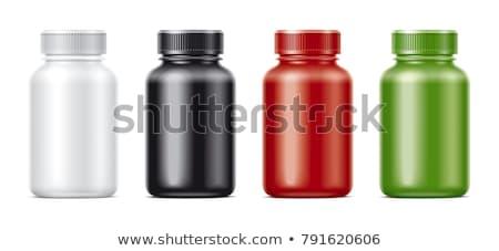 Photo stock: Bouteille · pilules · brun · verre · coloré · capsules