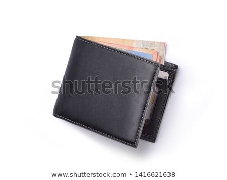 Portefeuille fermé brun cuir banque note Photo stock © peterguess