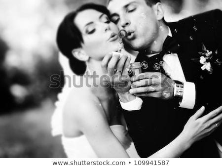 belo · casamento · casal · posando · floresta · noiva - foto stock © tekso