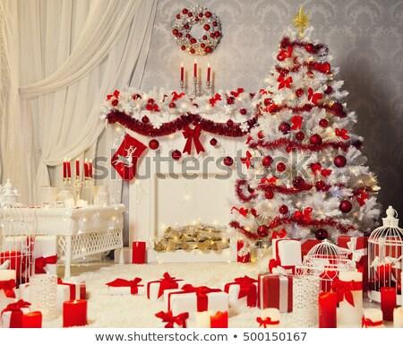 Christmas scène Rood gordijn vakantie kerstboom Stockfoto © popaukropa