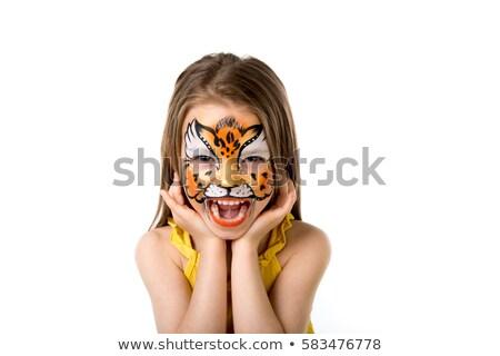 счастливым дети тигр белый иллюстрация улыбка Сток-фото © bluering
