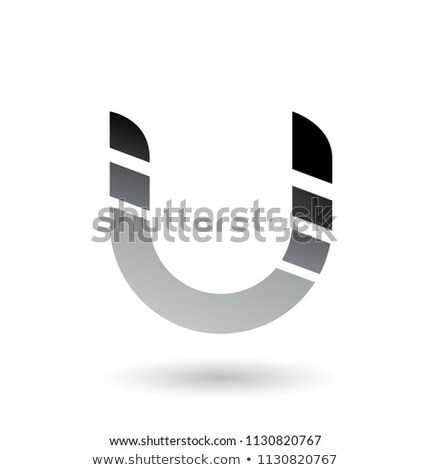 grey striped bold icon for letter u vector illustration stock photo © cidepix