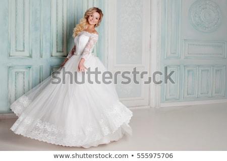 Stockfoto: Mooie · trouwjurk · cute · glimlachende · vrouw · gelukkig · bruid