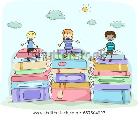 группа · детей · чтение · книгах · дети · изучения - Сток-фото © lenm