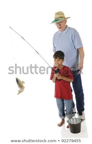 Człowiek wędka wiadro ryb ilustracja tle Zdjęcia stock © colematt