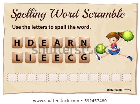 Spelling word scramble for word cheerleading Stock photo © colematt
