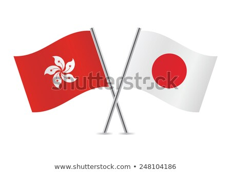bandera · Hong · Kong · aislado · blanco - foto stock © mikhailmishchenko