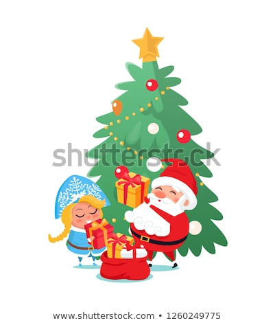 santa and snow maiden taking out presents vector stock photo © robuart