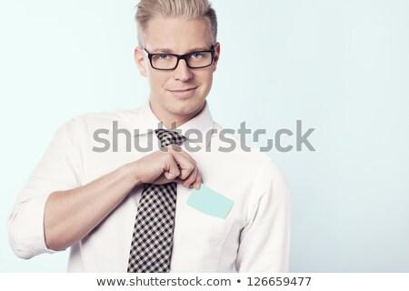 Dostça işadamı boş kart cep genç Stok fotoğraf © lichtmeister