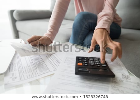 close up of businesswoman with laptop and money Stock photo © dolgachov