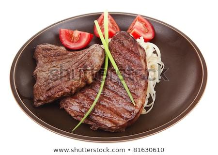 ızgara · biftek · makarna · restoran · et · domates - stok fotoğraf © M-studio