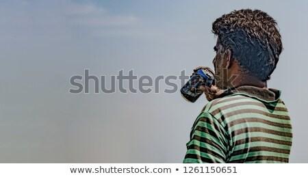 portret · brutaal · bebaarde · man · tshirt - stockfoto © pathakdesigner
