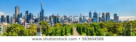 Melbourne linha do horizonte dinheiro pôr do sol edifícios silhueta Foto stock © compuinfoto
