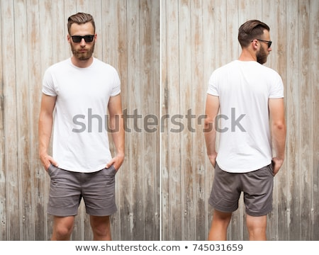 Man in front of a yourt Stock photo © w20er