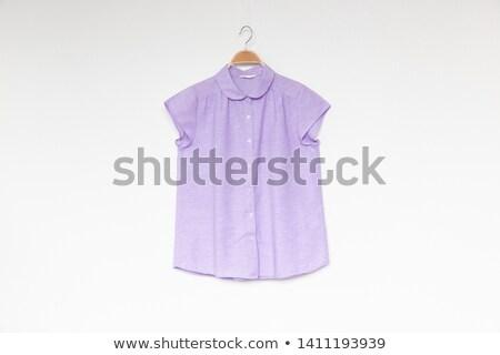 Paars blouse mooie vrouw meisje glimlachend Stockfoto © disorderly