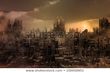 ruined city in smoke  Stock photo © OleksandrO