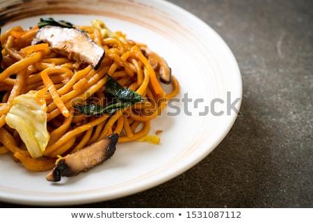 вегетарианский пасты блюдо грибы кремом соус Сток-фото © Digifoodstock