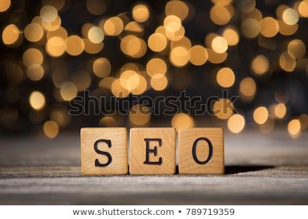 Seo Holztisch Wort Business Büro Internet Stock foto © fuzzbones0