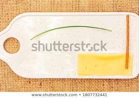 Snidling sajt friss fokhagyma zöld tányér Stock fotó © Digifoodstock