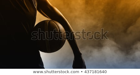 Stockfoto: Knap · afrikaanse · jonge · man · permanente · spelen · basketbal
