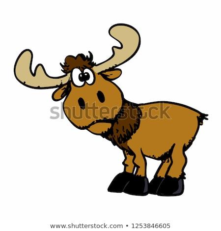 Cute smiling horned elk cartoon illustration Stock photo © vectorikart