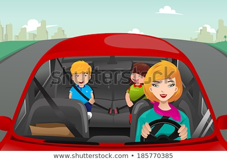 Young Boy Wearing Car Seatbelt Stockfoto © Artisticco