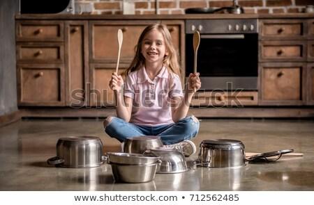 Lány játszik dobok tánc gyermek mikrofon Stock fotó © wavebreak_media