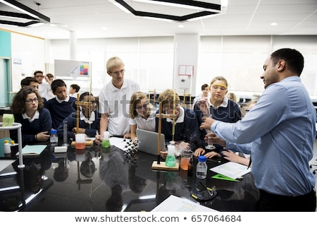Studenten experiment chemie klasse illustratie school Stockfoto © bluering
