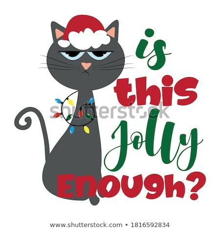 Cartoon Angry Xmas Kitten Stock photo © cthoman