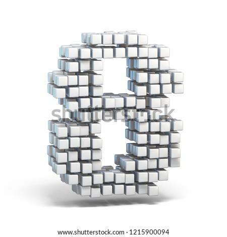 Foto stock: Branco · fonte · número · oito · 3D