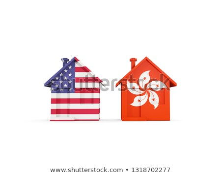 Two houses with flags of United States and hong kong Stock photo © MikhailMishchenko