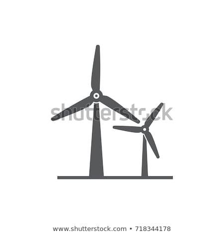 Stock fotó: Szélturbinák · illusztráció · fényes · zöld · energia · szél · erő