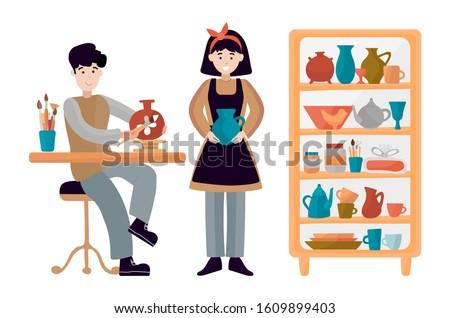 Muchacha adolescente cerámica ilustración Foto stock © lenm