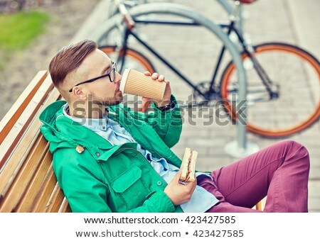 man · fiets · drinken · koffie · jonge · man · vintage - stockfoto © dolgachov