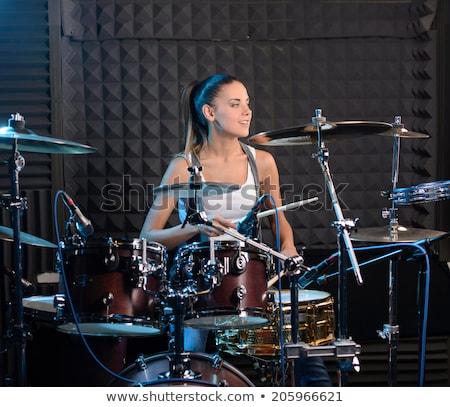 Instalacja biały sylwetka rock drum nowoczesne Zdjęcia stock © mayboro