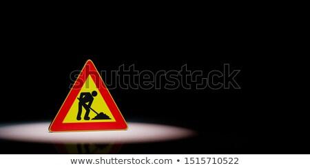 Mannen werk driehoek zwarte waarschuwing Stockfoto © make